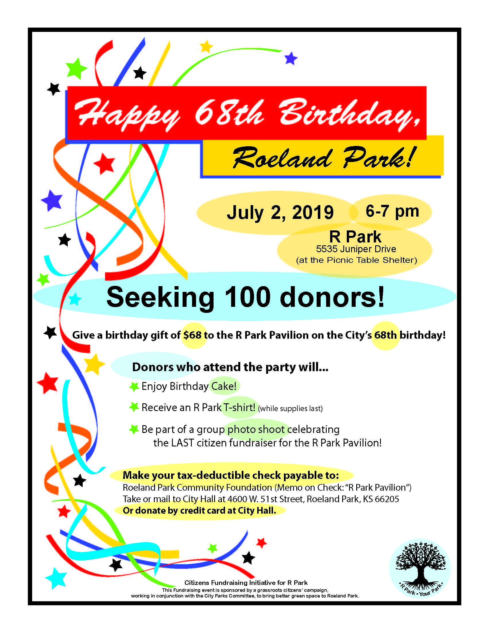 R Park 68th Birthday Flyer